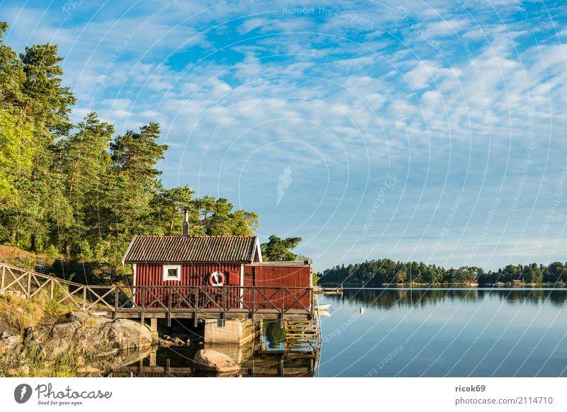 Schärengarten an der schwedischen Küste vor Stockholm Natur Ferien & Urlaub & Reisen blau grün Baum Landschaft Erholung Haus Wolken Architektur Umwelt Tourismus