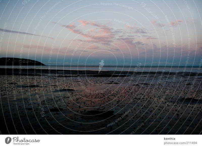 sehnsucht Ferien & Urlaub & Reisen Sommer Strand Meer Natur Landschaft Sand Himmel Wolken Hügel Küste Ebbe England Insel Horizont ruhig Isle of Man Wattwürmer