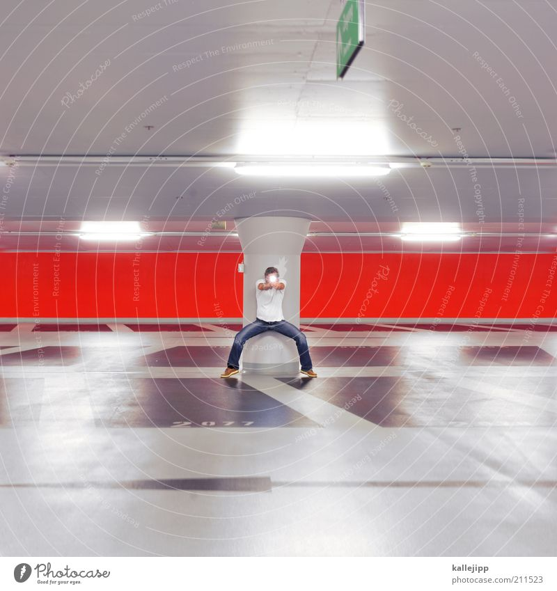 high noon Mensch Mann rot Erwachsene Wand Architektur Mauer maskulin Design planen Ziel Pfeil Säule Lampe Waffe zielen