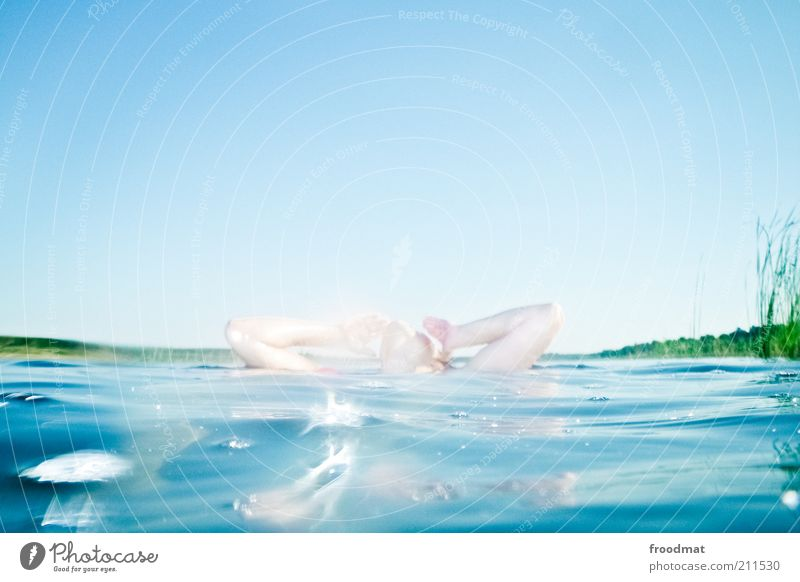 bonbonfabrik Frau Mensch Natur Wasser Sommer ruhig Erwachsene Erholung feminin Umwelt oben Haare & Frisuren Wärme träumen See hell