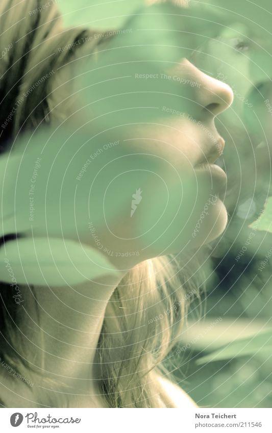 Mensch und Natur feminin Frau Erwachsene Leben Kopf Haare & Frisuren Gesicht Nase Mund Umwelt Pflanze Frühling Sommer Herbst Blatt brünett atmen ästhetisch