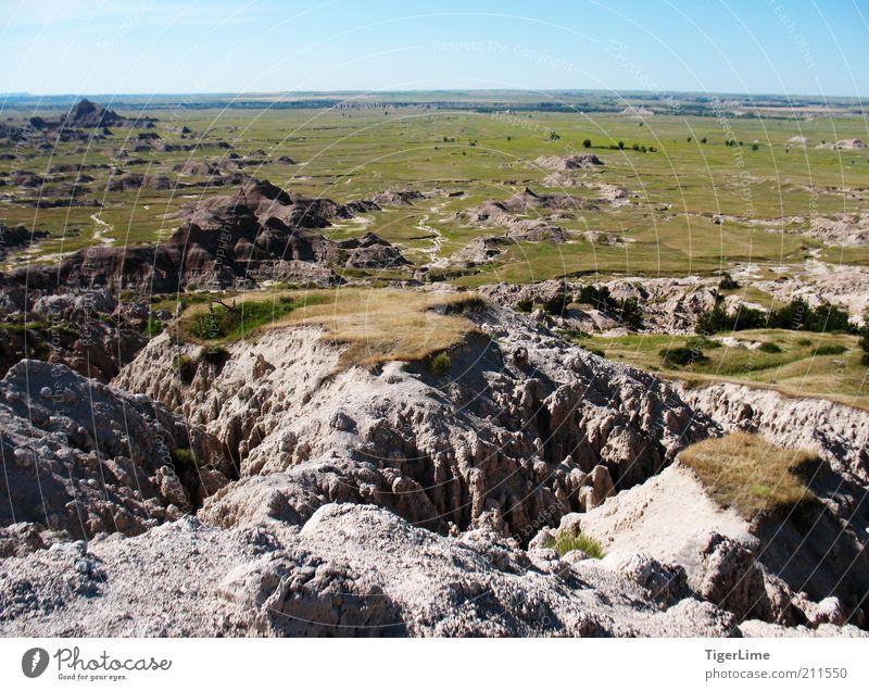 Badlands' Ende Umwelt Natur Landschaft Erde Wolkenloser Himmel Horizont Sommer Schönes Wetter Wärme Gras Sträucher Hügel Felsen Berge u. Gebirge Ödland Ferne