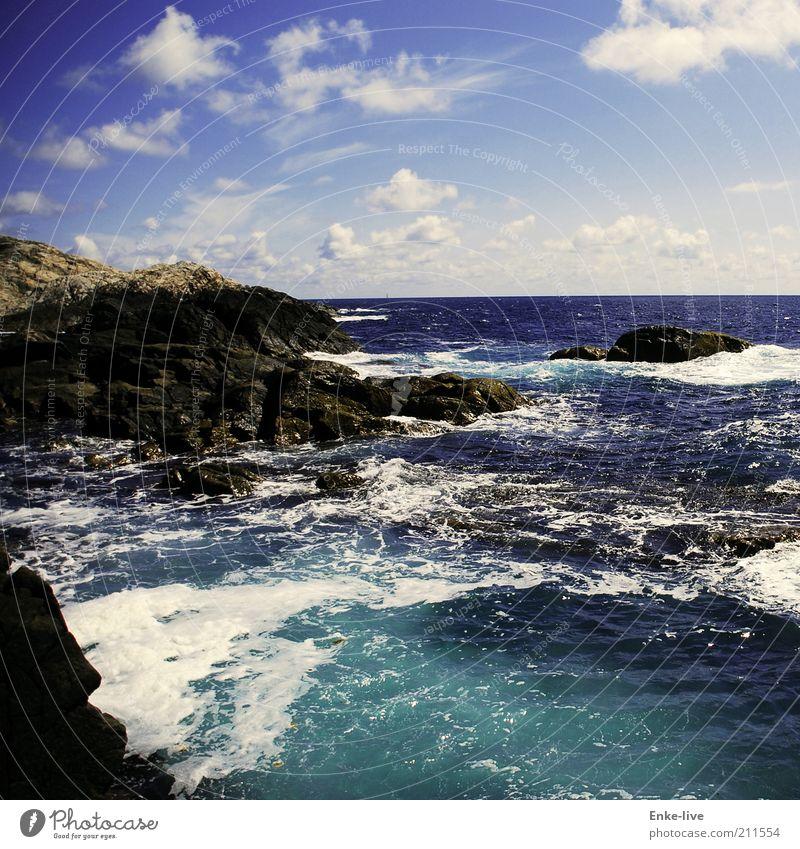 booming_sea Wohlgefühl Ferien & Urlaub & Reisen Sommer Meer Insel Landschaft Erde Wasser Himmel Wolken Horizont Schönes Wetter Wind Wellen Küste Fjord