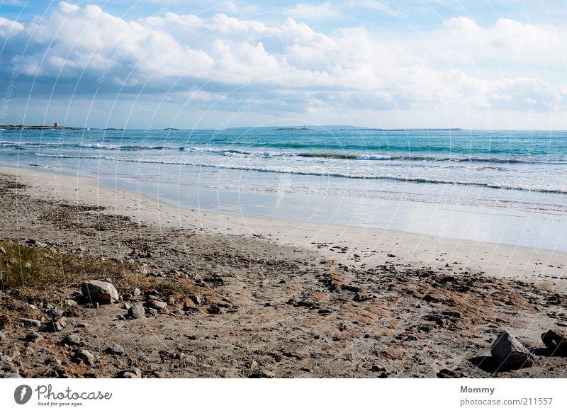 Tag am Meer Sand Wasser Himmel Wolken Sonnenlicht Schönes Wetter Wellen Küste Strand Ferien & Urlaub & Reisen ruhig Farbfoto Außenaufnahme Panorama (Aussicht)