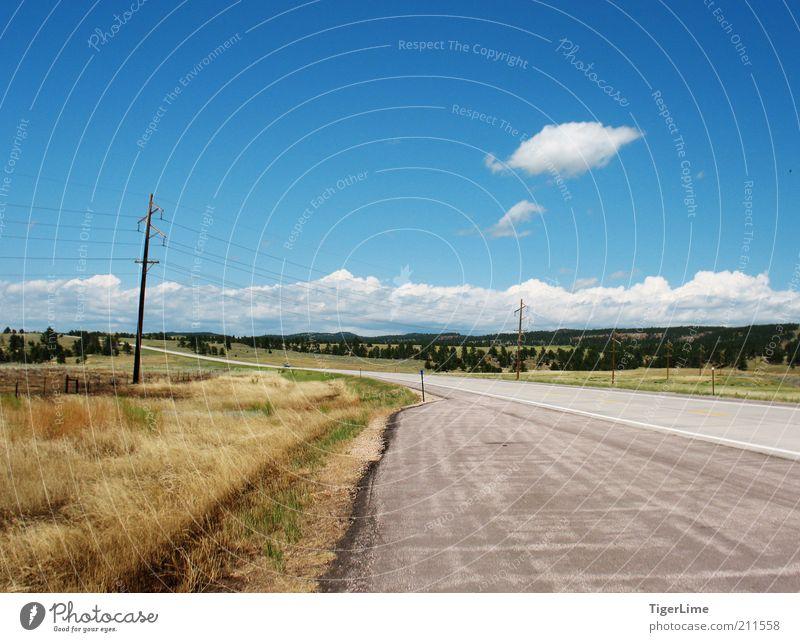 Ansicht am Straßenrand Landschaft Luft Himmel Wolken Horizont Sommer Schönes Wetter Wärme Dürre Gras Ebene Colorado Ferne frei Unendlichkeit heiß lang