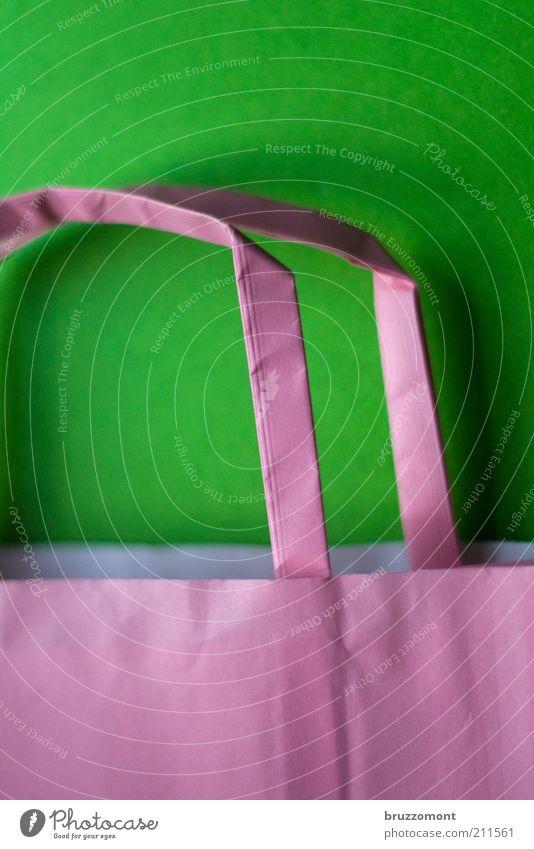 Tüte grün rot Stil rosa Papier einfach Handel Tragegriff