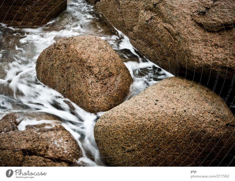 stonewashed Umwelt Natur Urelemente Wasser Schaum steinig Stein nass weich braun Kraft standhaft fließen Granit rund Erosion Farbfoto Gedeckte Farben