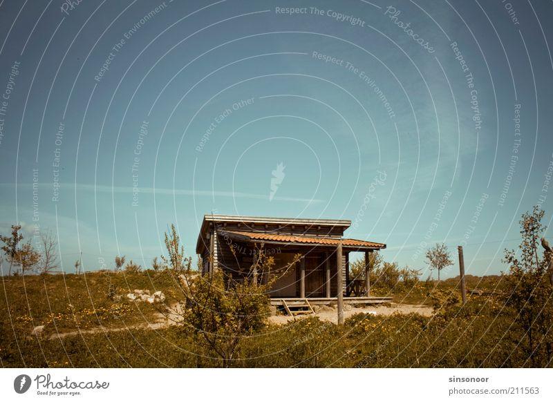 Onkel Tom's Hütte grün blau Haus braun Hütte Schönes Wetter Terrasse