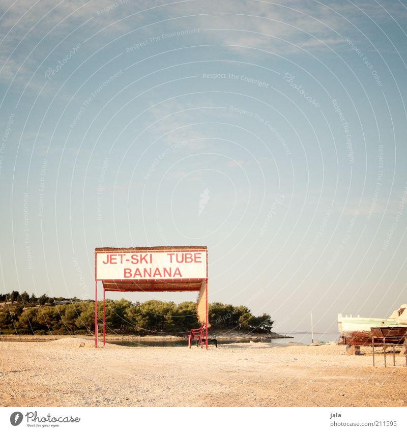 let's have fun! Landschaft Himmel Pflanze Küste Schilder & Markierungen Freude Lebensfreude Jet-Ski Wassersport Text Sommer Ferien & Urlaub & Reisen Farbfoto