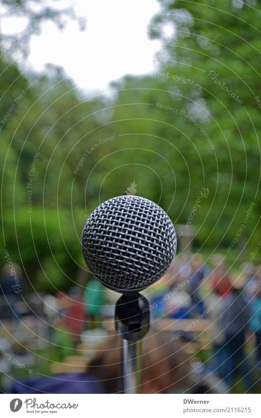 Das Mikro Freizeit & Hobby Entertainment Musik Unterhaltungselektronik Sänger Band Schönes Wetter Park Wiese sprechen Neugier Macht protestieren