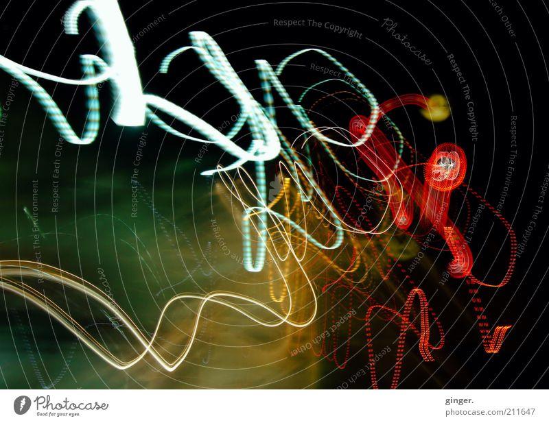 :: Die Nacht durchtanzen :: Schilder & Markierungen leuchten rot weiß Licht schlingern Kameraschwenk Bewegung wild Lichtmalerei Lichtschweif Lichtstreifen