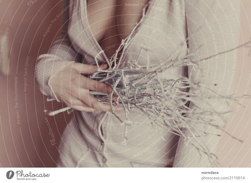 Waldblumenstrauß in Händen feminin Brust Frauenbrust Finger Ast Blumenstrauß elegant Erotik frei positiv Zufriedenheit Akzeptanz Vertrauen Sicherheit Schutz