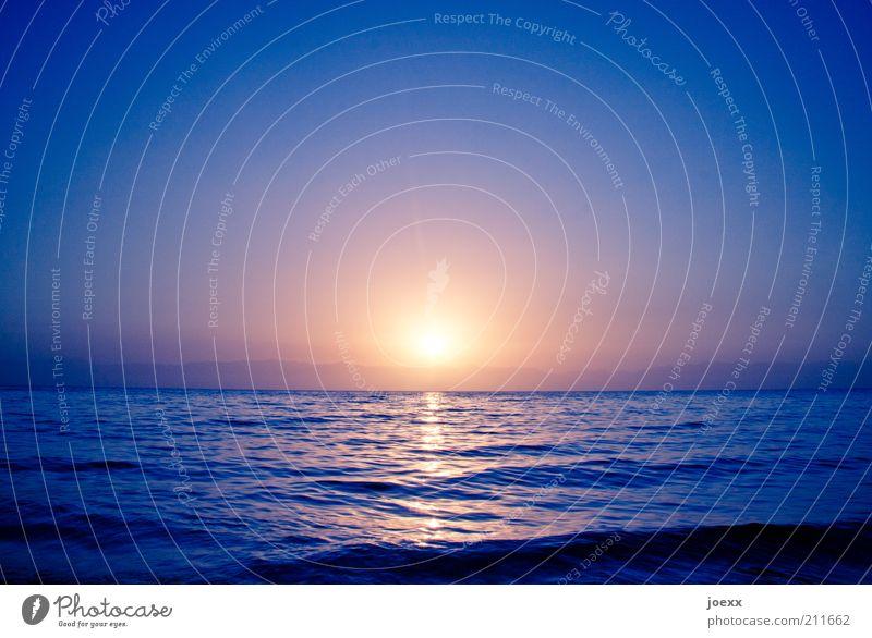 Untergang Ferne Sommer Meer Wellen Wasser Himmel Sonne Sonnenaufgang Sonnenuntergang Sonnenlicht Schönes Wetter Küste groß Unendlichkeit blau gelb gold violett