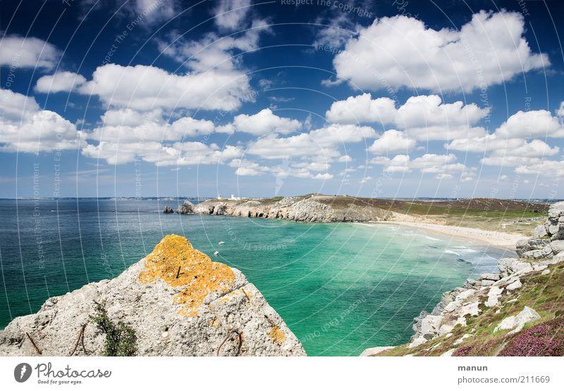 Bretagne VI, pierre jaune Natur Meer Sommer Strand Ferien & Urlaub & Reisen Ferne Landschaft Küste Umwelt Horizont Felsen Ausflug Tourismus einzigartig Idylle Bucht