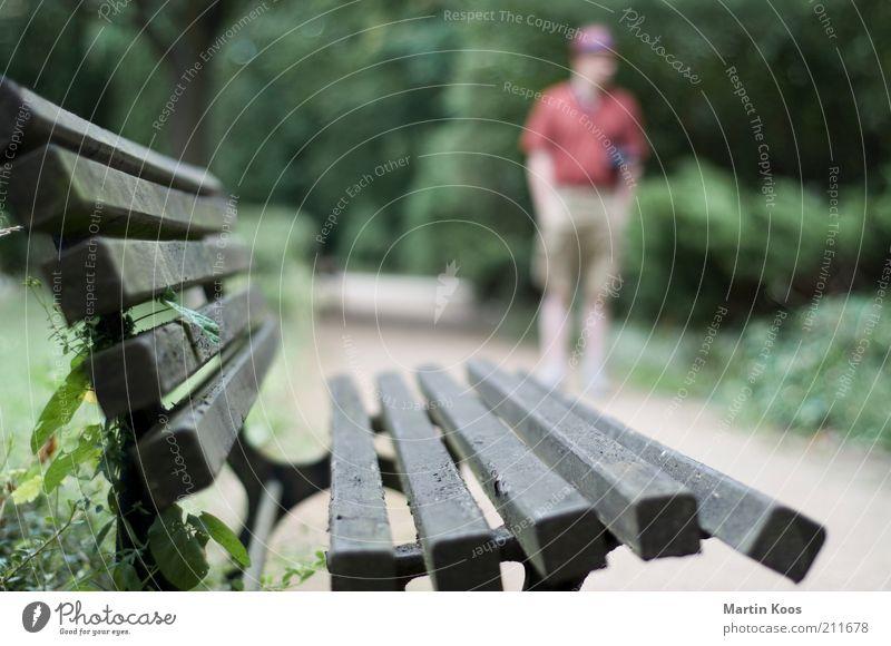 :: 100 :: chilloutzone Mensch maskulin Erwachsene Leben Bank Pause Parkbank Erholung Hut Holzbank Wege & Pfade Spaziergang Farbfoto Gedeckte Farben Unschärfe