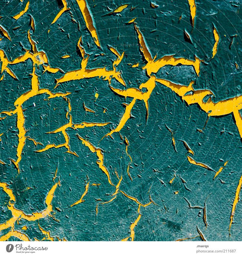 Aufriss alt grün gelb Farbe Stil Metall Hintergrundbild Design kaputt Wandel & Veränderung Vergänglichkeit Verfall Riss Lack eckig abblättern