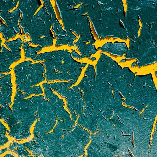 Aufriss Stil Design Metall alt eckig gelb grün Farbe Verfall Vergänglichkeit abblättern Lack Kontrast Hintergrundbild Farbfoto Detailaufnahme Muster