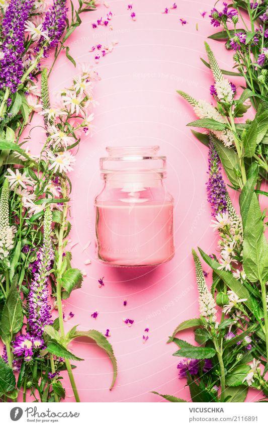 Naturkosmetik für Hautpflege Pflanze schön Blume Blatt Blüte Gesundheit Hintergrundbild Stil rosa Design Textfreiraum Wellness Körperpflege Kosmetik Schminke