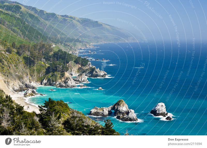 Big Sur Natur Wasser Meer blau Sommer Strand Ferien & Urlaub & Reisen ruhig Ferne Berge u. Gebirge Freiheit Landschaft Küste Hintergrundbild Felsen Ausflug