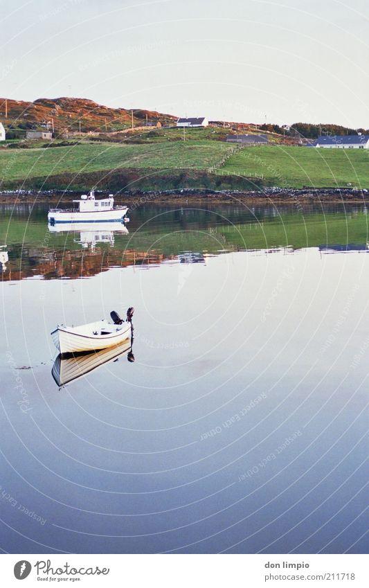 westcoast Himmel Sommer Haus Ferne Wiese Landschaft Stimmung Küste Insel Hafen Idylle analog Bucht Schönes Wetter Fischereiwirtschaft Fjord