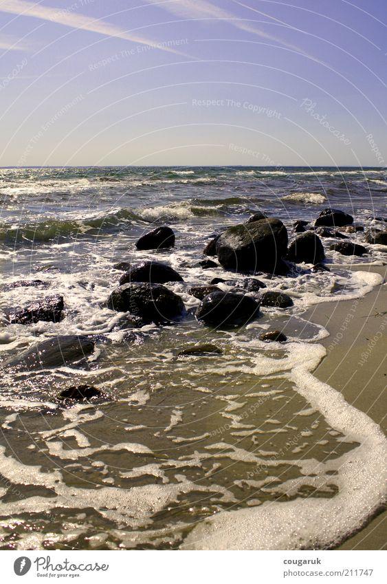 Steine am Strand Natur Wasser Himmel Meer Ferien & Urlaub & Reisen Ferne Sand Landschaft Küste Wellen Umwelt Horizont Felsen Tourismus