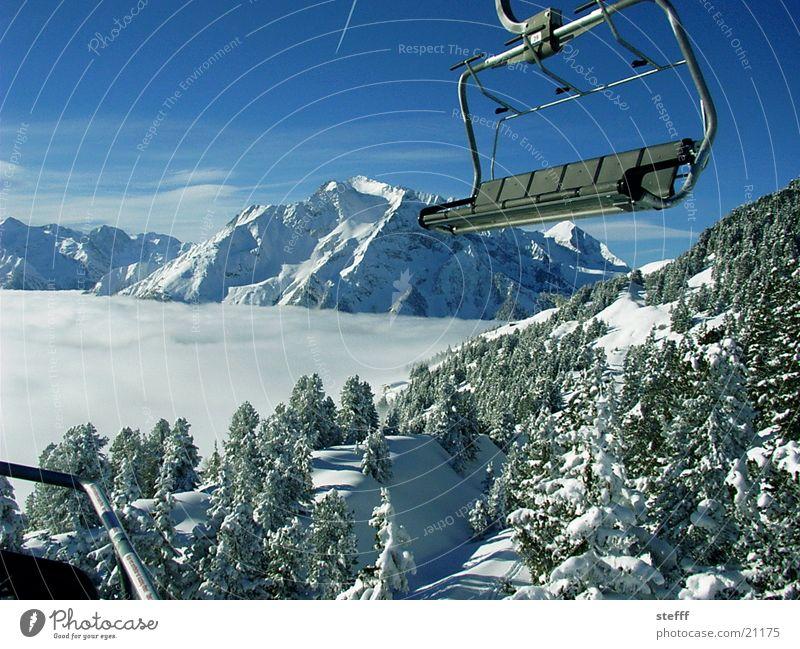 Watte Himmel weiß Schnee Berge u. Gebirge Landschaft Nebel Aussicht Tanne Fahrstuhl Wintersport