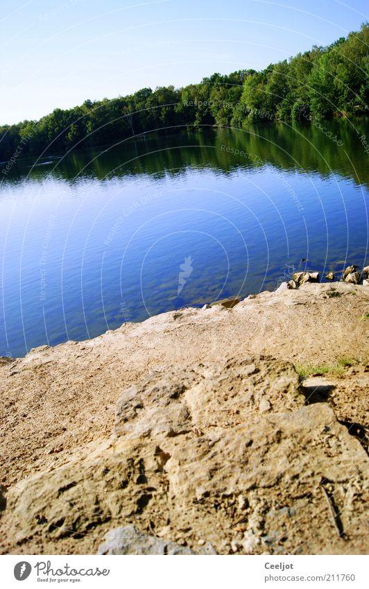 Dreiecksbeziehung Insel Wasser Schönes Wetter Baum See Stein Geborgenheit friedlich ruhig blau grün hell-blau Reflexion & Spiegelung blau-weiß Wald Farbfoto