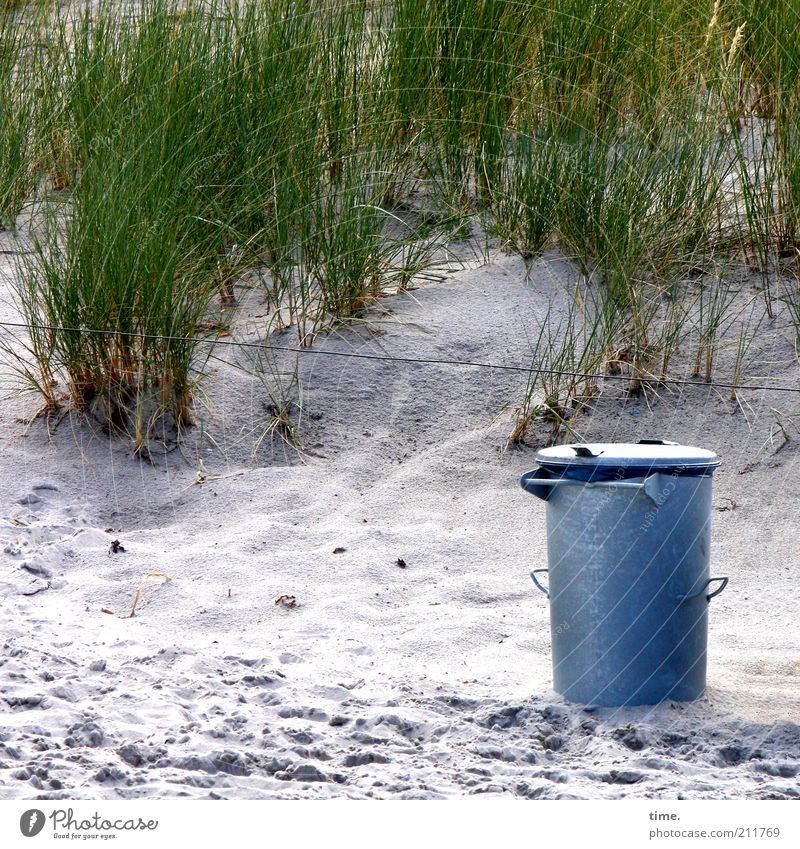 Support Your Local Restmüll Pflanze Strand Sand Metall Umwelt Ordnung Sauberkeit Metallwaren Müll Fußspur Stranddüne Düne Draht einzeln Umweltschutz Spuren