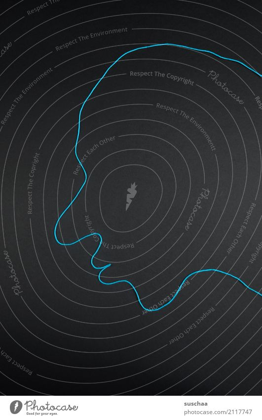 erscheinung blau schwarz Gesicht Kunst Kopf Freizeit & Hobby Mund Nase Schnur Material Figur Basteln Handarbeit Erscheinung Stirn Kinn