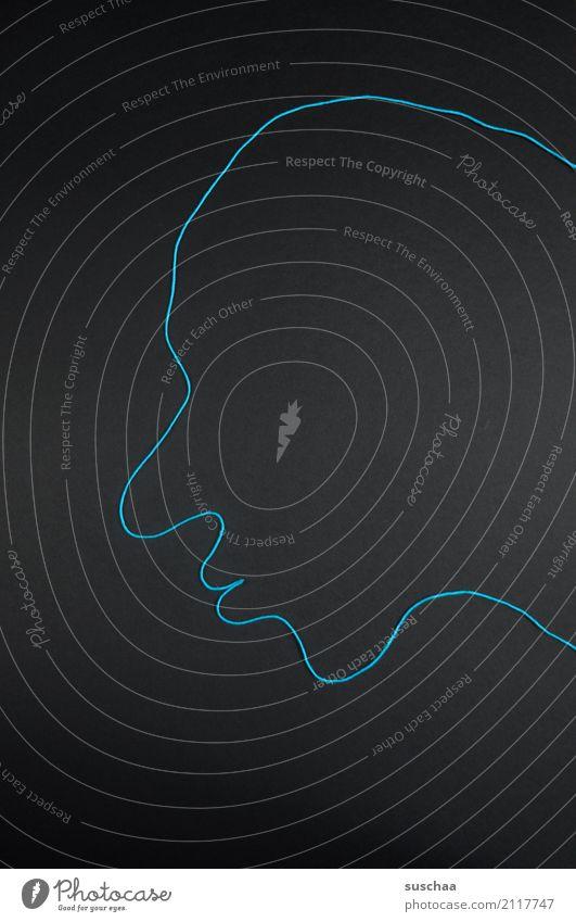 erscheinung Faden Wollfaden Schnur Material blau Handarbeit Kunst Zufallsprodukt Profil Gesicht Figur Erscheinung Kopf Stirn Nase Mund Kinn Basteln