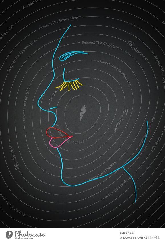 gesicht Faden Wollfaden Schnur Material blau Handarbeit Kunst Profil Gesicht Figur Erscheinung Kopf Auge Nase Mund Kinn Lippen Wimpern Basteln