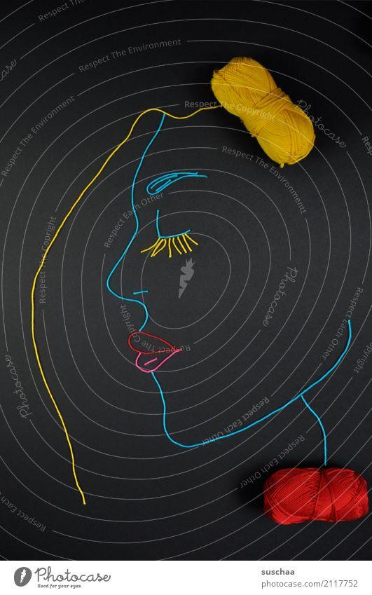 gesicht aus wolle Faden Wollfaden Schnur Material blau Handarbeit Kunst Profil Gesicht Figur Erscheinung Kopf Auge Nase Mund Kinn Lippen Wimpern Basteln