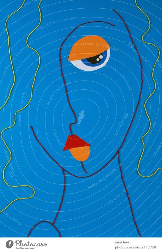 serie in blau Faden Wollfaden Schnur Material rot mehrfarbig Handarbeit Kunst abstrakte kunst reduziert abstrahiert Idee Kreativität Gesicht Figur Bild