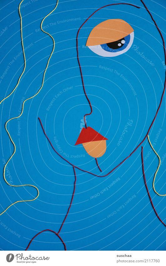serie in blau schön rot Gesicht Auge Kunst Haare & Frisuren Kopf Freizeit & Hobby Kreativität Idee Mund Nase Schnur Bild Material