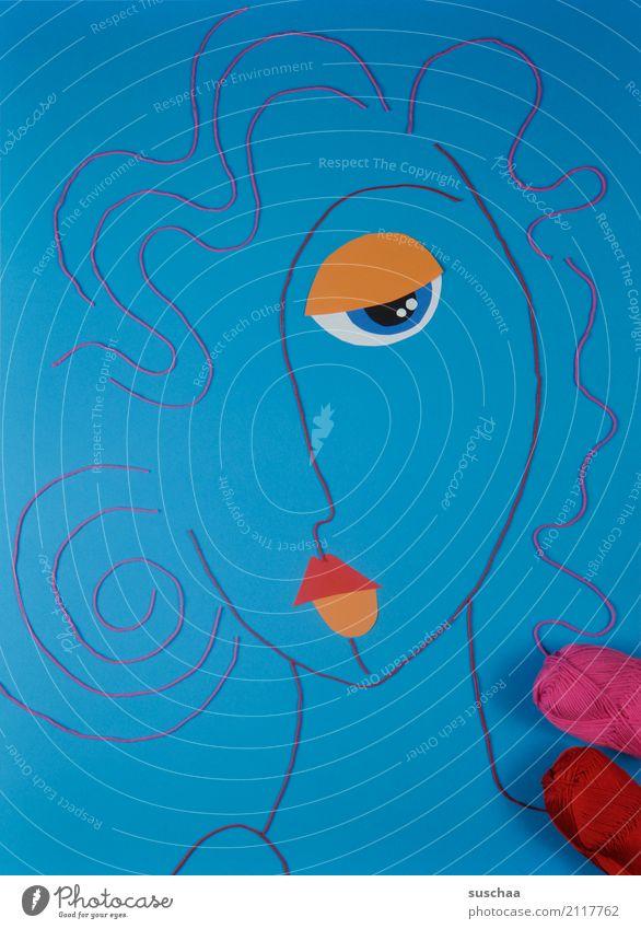 serie in blau Faden Wollfaden Schnur Material rot mehrfarbig Handarbeit Kunst abstrakte kunst reduziert abstrahiert Idee Kreativität Gesicht Körper Bild