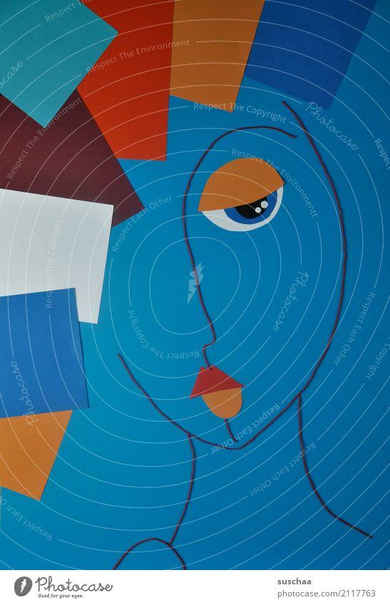 wolle & papier Faden Wollfaden Schnur Material Papier blau rot mehrfarbig Handarbeit Kunst abstrakte kunst reduziert abstrahiert Idee Kreativität Gesicht Figur