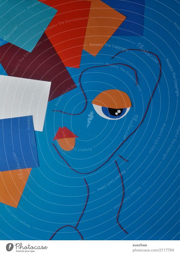 deformationskunst Faden Wollfaden Schnur Material Papier blau rot mehrfarbig Handarbeit Kunst abstrakte kunst reduziert abstrahiert Idee Kreativität Gesicht