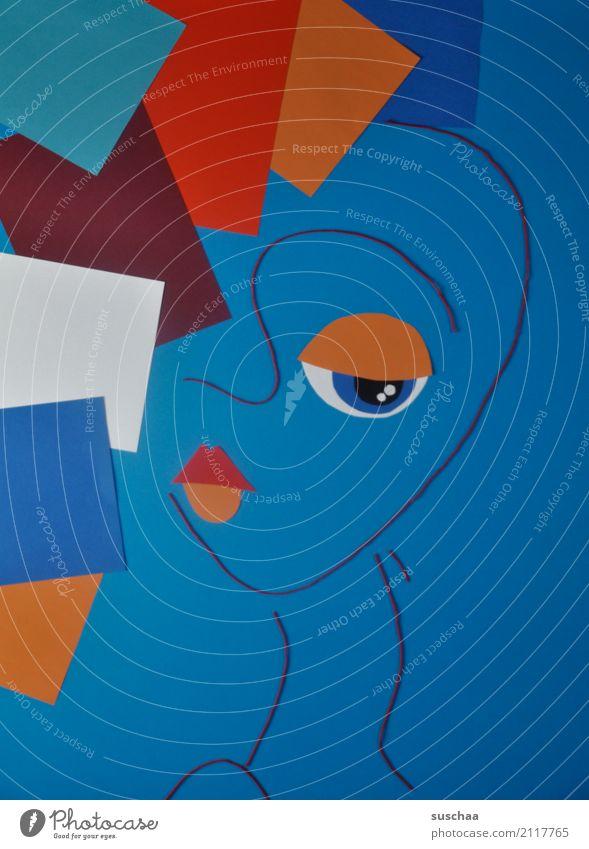 deformationskunst Faden Wollfaden Schnur Material blau rot mehrfarbig Handarbeit Kunst abstrakte kunst reduziert abstrahiert Idee Kreativität Gesicht Figur Bild