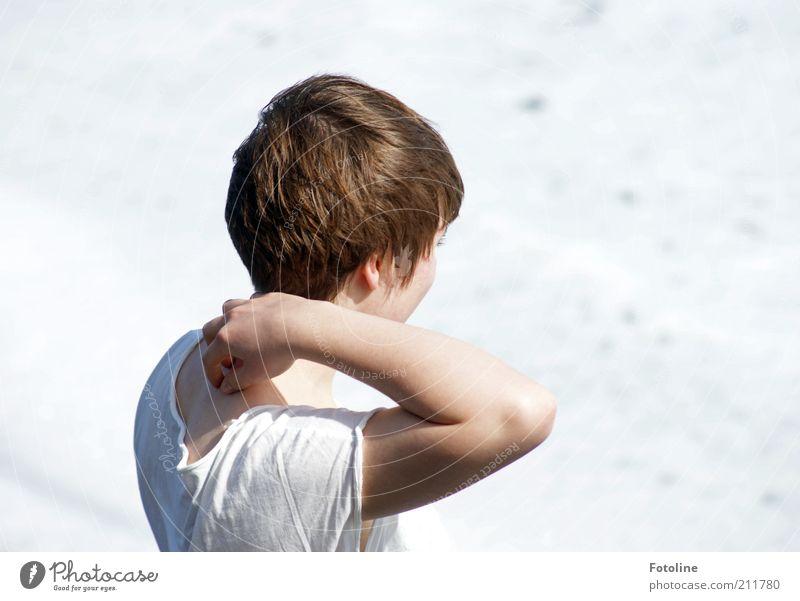 Es kitzelt! Mensch Frau Jugendliche Hand weiß schön Erwachsene Leben Kopf Haare & Frisuren hell Wetter Arme Finger 18-30 Jahre T-Shirt