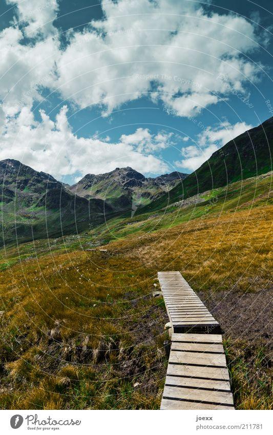 Ende und Anfang Natur Himmel Pflanze Sommer Ferien & Urlaub & Reisen ruhig Wolken Wiese Gras Berge u. Gebirge Frühling Wege & Pfade Landschaft Wetter Umwelt
