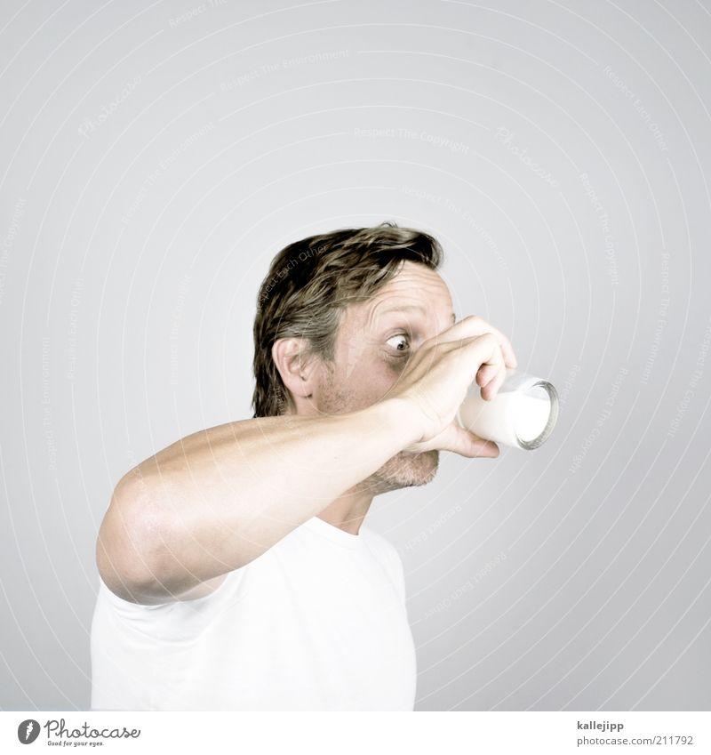 milchbubi Milcherzeugnisse Getränk trinken Glas Kopf Arme Hand Finger 1 Mensch 30-45 Jahre Erwachsene weiß Vitamin grundnahrungsmittel Gesundheit Durst durstig