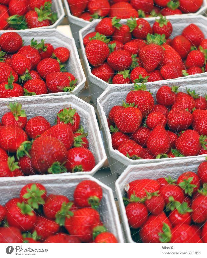Beerig Lebensmittel Frucht Ernährung Bioprodukte Vegetarische Ernährung Duft frisch lecker saftig süß Farbe verkaufen Erdbeeren Beeren Obstschale Marktstand