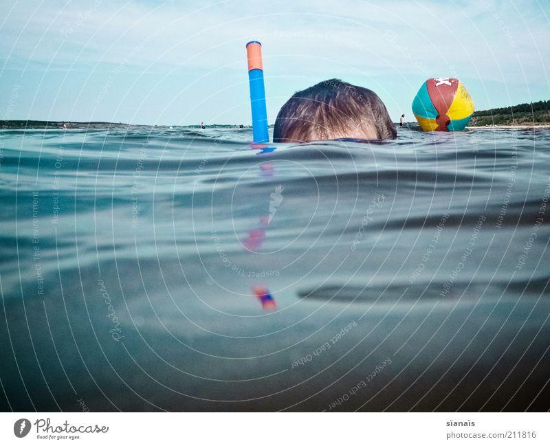 aquanaut Kind Natur Ferien & Urlaub & Reisen Wasser Sommer Meer Freude Umwelt Junge Spielen Schwimmen & Baden See Kopf Horizont Luft Kindheit