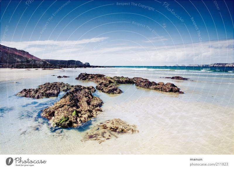 Bretagne XI, Plage Goulien Natur Wasser Sommer Strand Meer Ferien & Urlaub & Reisen Einsamkeit Ferne Erholung Landschaft Umwelt Küste Wellen Felsen Tourismus Klima