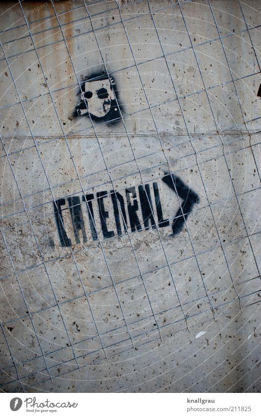 CATEDRAL > schwarz Graffiti Religion & Glaube Fassade Beton Kirche Baustelle Suche Symbole & Metaphern Zeichen Maske Verfall Rost Ibiza Dom Gitter