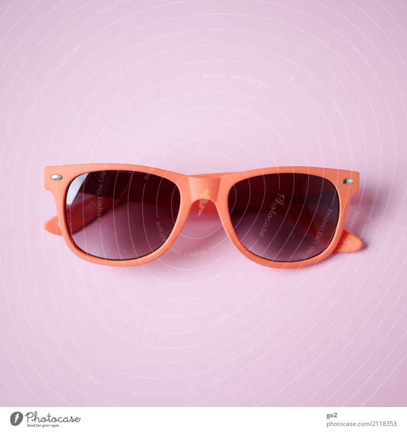 Sonnenbrille Ferien & Urlaub & Reisen Sommer Sommerurlaub Accessoire ästhetisch Coolness orange rosa rot Freizeit & Hobby Farbfoto Innenaufnahme Studioaufnahme