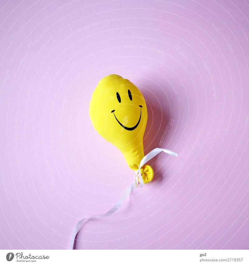 Keep Smiling Freude gelb lustig lachen Spielen Glück Party Feste & Feiern Freizeit & Hobby Geburtstag Lächeln Fröhlichkeit Lebensfreude Geschenk Zeichen Luftballon