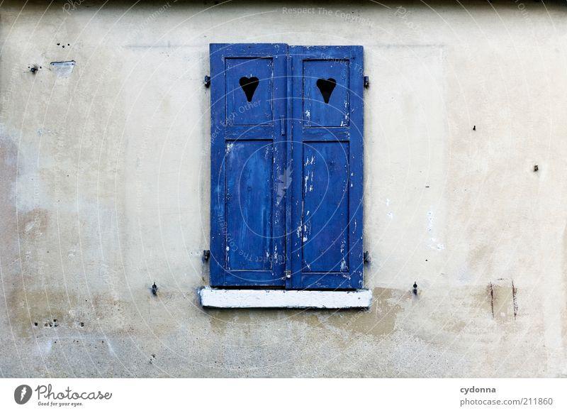 Verschlossen ruhig Wand Stil Fenster Mauer Fassade geschlossen Schutz Idee stagnierend Fensterladen herzförmig
