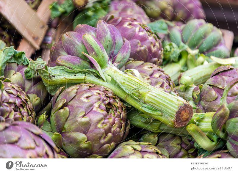 Gruppe von Artischocken Gemüse Ernährung Vegetarische Ernährung Diät Lifestyle Garten Natur Pflanze Blume Blatt Wachstum frisch lecker natürlich grün Farbe