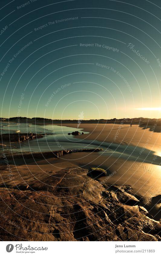 Good Morning Sunshine Himmel blau Ferien & Urlaub & Reisen Meer Strand Ferne Freiheit Stein gold Felsen stehen Schönes Wetter Lebensfreude Blauer Himmel Sonnenuntergang dehnen